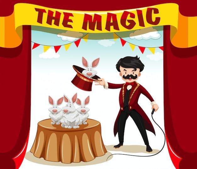 Espectáculo de magia con mago y conejos. vector gratuito