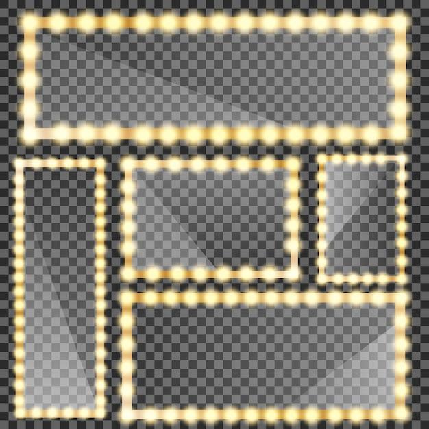 Espejo de maquillaje aislado con luces doradas. marco de espejos de círculo y rectángulo con bombillas y reflejo de espejo. Vector Premium