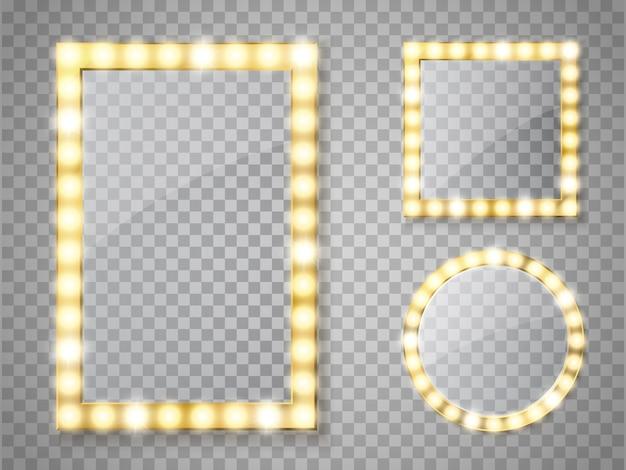 Espejo de maquillaje aislado con luces doradas. marcos cuadrados y redondos Vector Premium