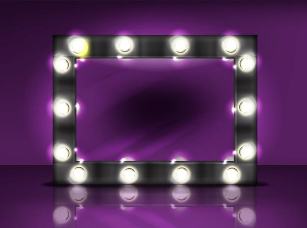 Espejo de maquillaje con lámpara bombilla ilustración de marco negro retro con luz realista vector gratuito