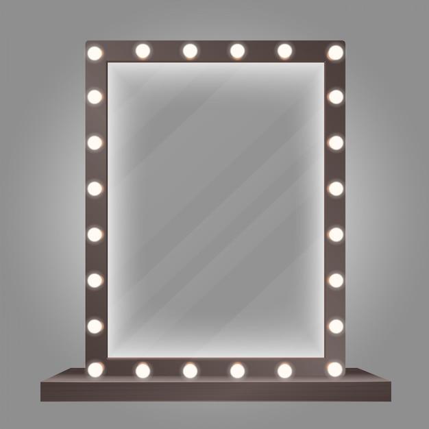 Espejo en marco con bombillas. ilustración de espejo de maquillaje. Vector Premium