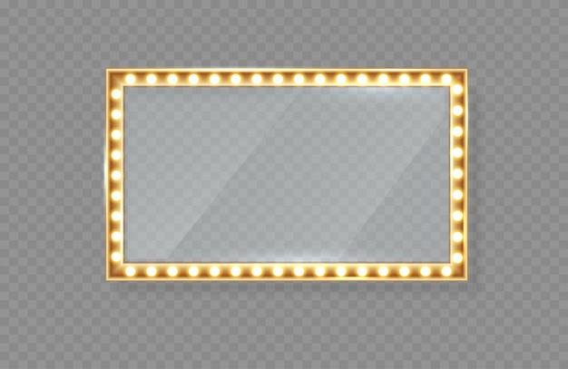Espejo en marco con luces brillantes con luz para maquillaje. Vector Premium