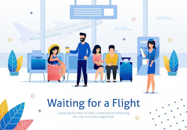 Esperando el vuelo en el aeropuerto flat banner Vector Premium
