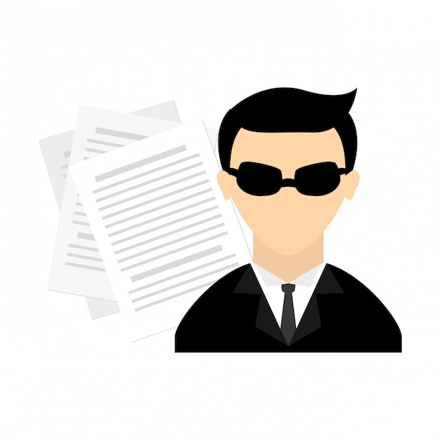 Espía pictograma avatar personaje vector gratuito