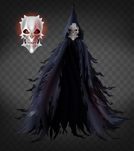Espíritu de muerte, fantasma aterrador, demonio malvado con capa harapienta y capucha vector gratuito