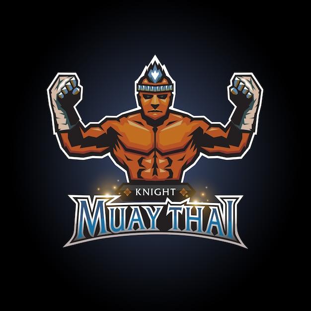 Esports knight muay thai club logo diseño Vector Premium