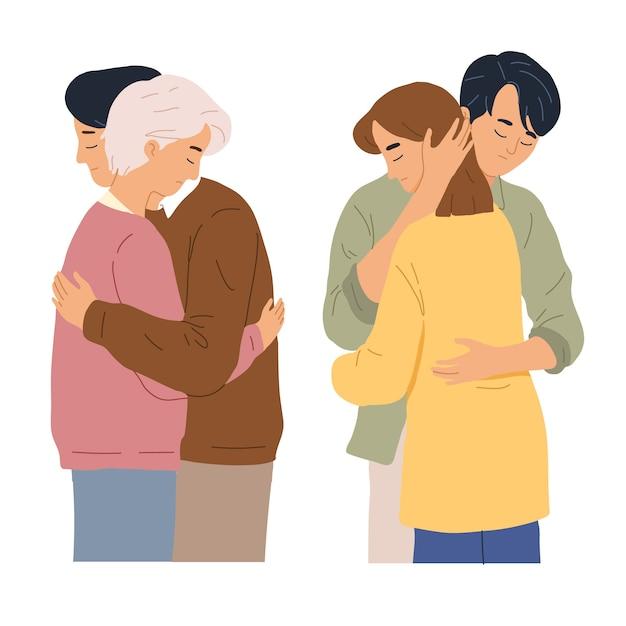El esposo y la esposa se abrazan cuando la depresión triste hace hincapié en el momento de mostrar amor Vector Premium