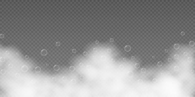 Espuma de baño con burbujas de champú aisladas en transparente Vector Premium