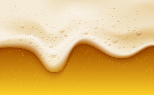 Espuma de cerveza realista con burbujas Vector Premium