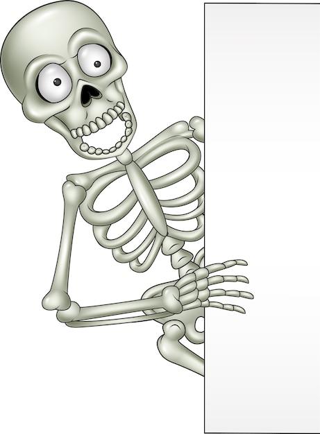 Esqueleto de dibujos animados con signo en blanco | Descargar ...