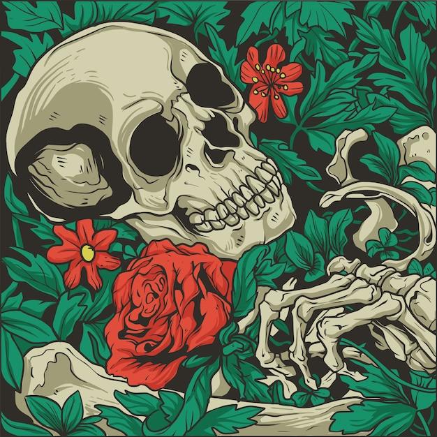 Esqueleto con una ilustración de rosas Vector Premium