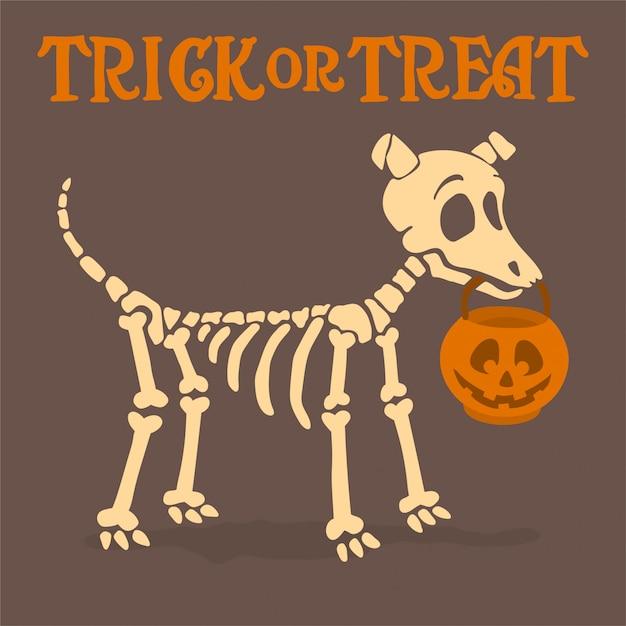 Esqueleto de perro con calabaza Vector Premium