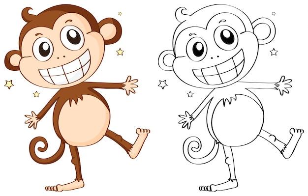 Esquema animal para mono lindo vector gratuito