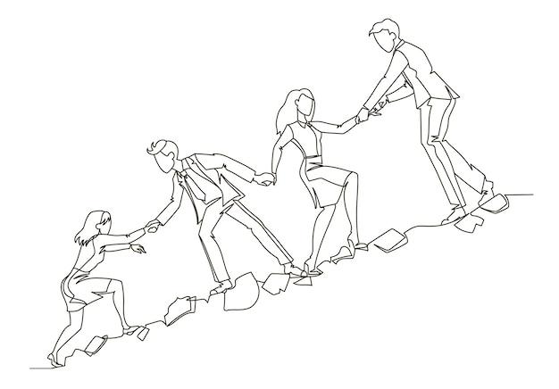 Esquema del concepto de trabajo en equipo. gente de negocios escalando juntos en arte de línea continua de montaña. asociación, concepto de motivación. Vector Premium