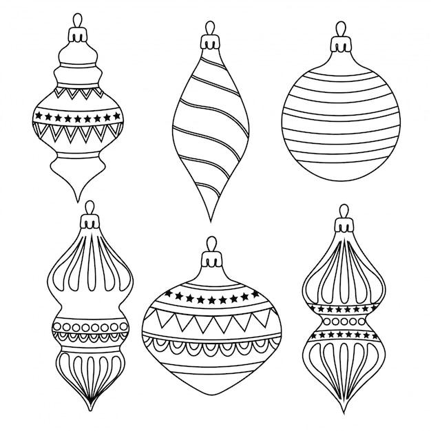 Esquema dibujado a mano colección de bolas de navidad para colorear ...
