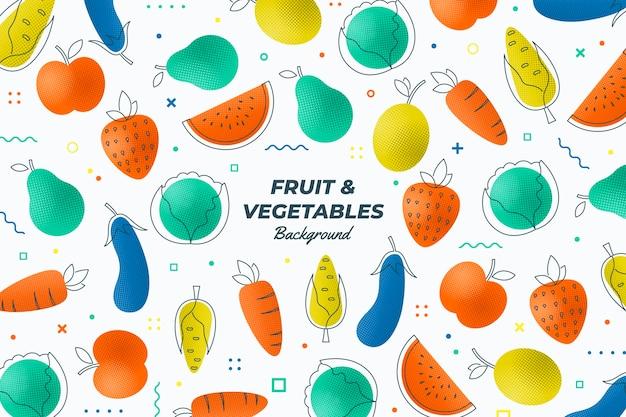 Esquema de fondo de frutas y verduras vector gratuito
