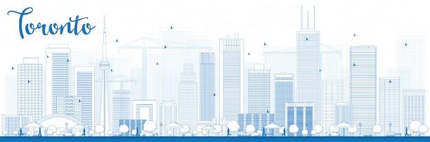 Esquema del horizonte de toronto con edificios azules Vector Premium