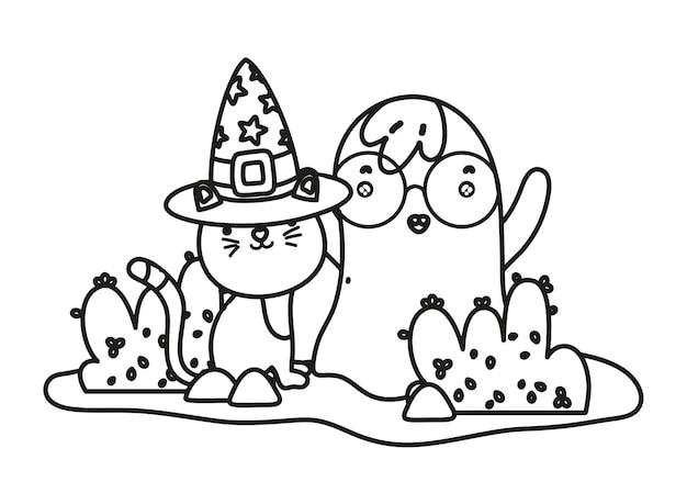 Esquema Lindo Gato Con Sombrero Y Fantasmas Con Gafas