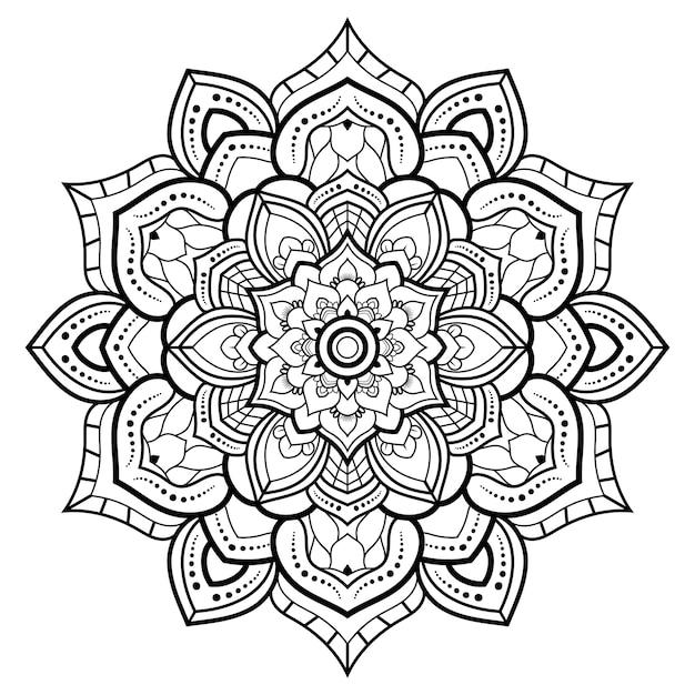 Esquema de mandala ornamental floral blanco y negro de patrón circular para colorear páginas del libro Vector Premium