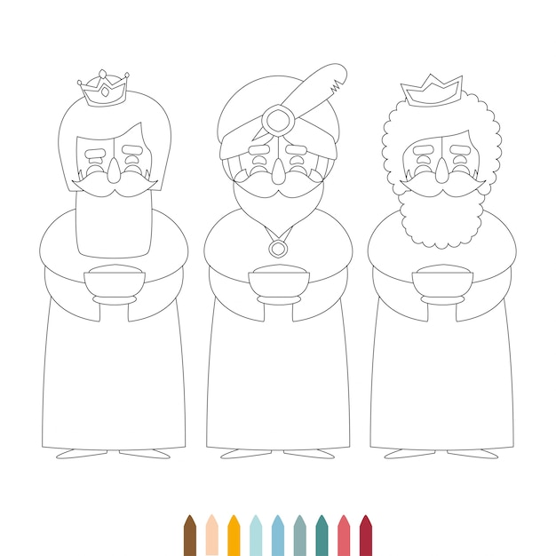 Esquema monocromo de navidad, tres hombres sabios, para colorear ...