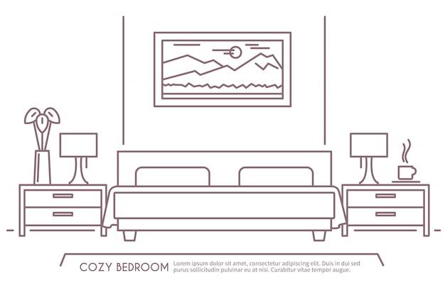 Esquema de muebles de dormitorio vector gratuito