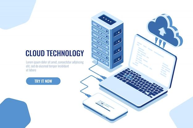 El esquema de transmisión de datos, conexión isométrica segura, cloud computing, sala de servidores, centro de datos. vector gratuito