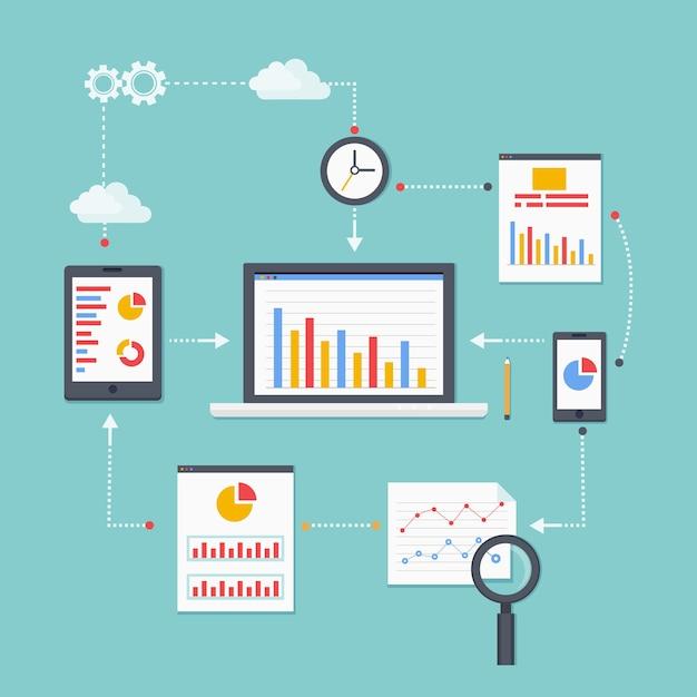 Esquema de vector plano de información, desarrollo y estadística de análisis web. ilustración vectorial vector gratuito