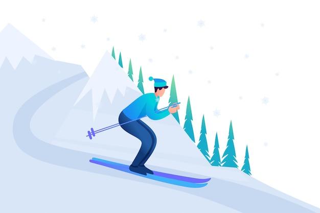 Esquí joven en vacaciones de navidad, diversión de invierno. Vector Premium