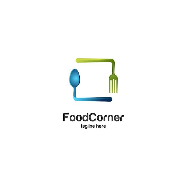 Esquina de comida cuchara y tenedor logo Vector Premium
