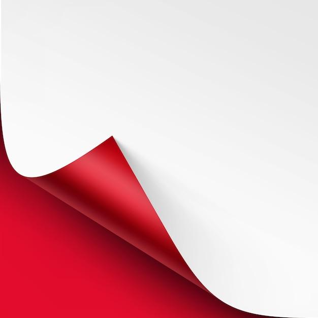 Esquina rizada de papel blanco con sombra Vector Premium