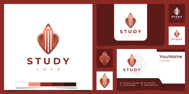 Establecer el amor del estudio del logotipo con la inspiración del diseño del logotipo de la versión en color Vector Premium
