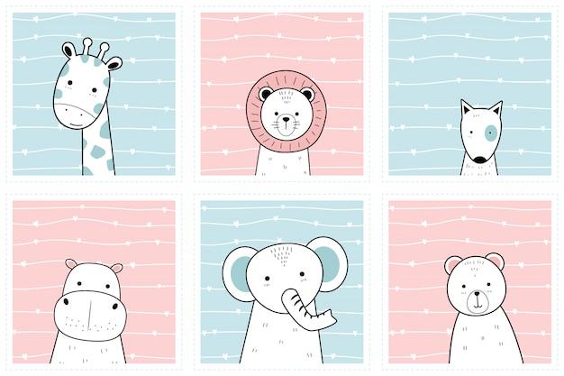 Establecer animales lindos en la colección de fondos de pantalla de doodle de dibujos animados de marco Vector Premium
