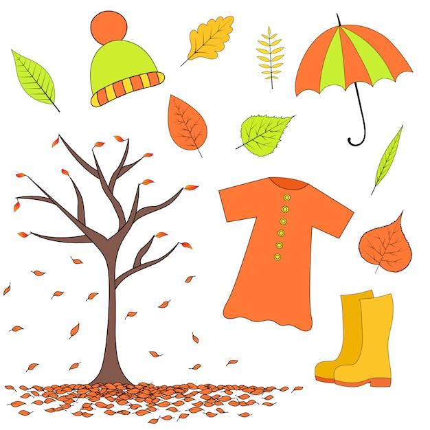 Establecer artículos de otoño de hojas, botas de goma, impermeable, sombrero paraguas Vector Premium