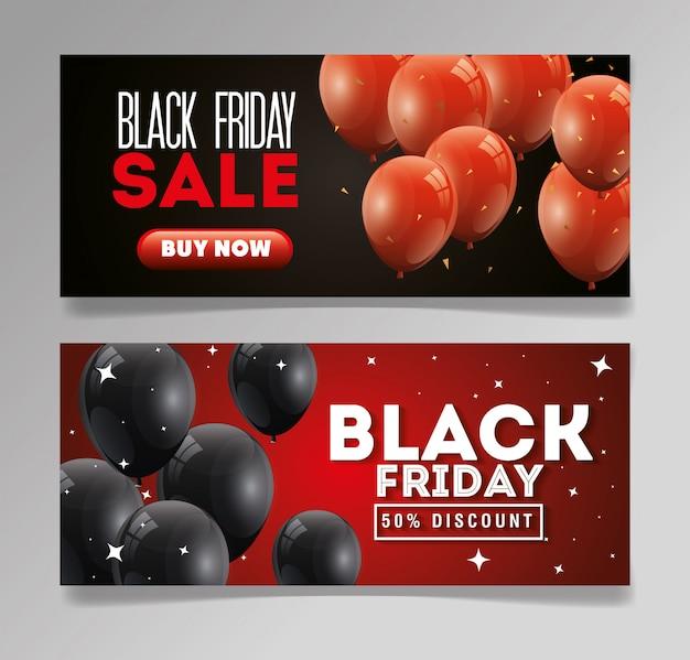 Establecer banner viernes negro con globos decoración de helio vector gratuito