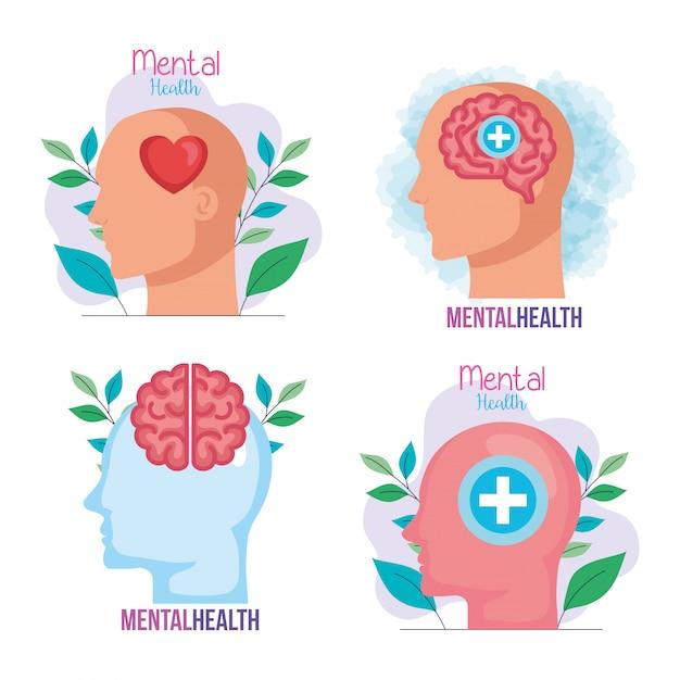 Establecer banners de salud mental con iconos Vector Premium