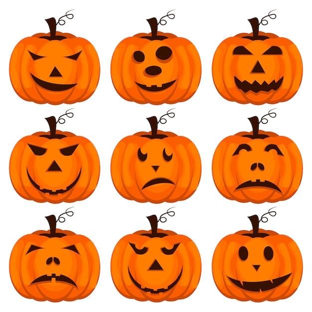 Establecer calabazas para halloween. Vector Premium