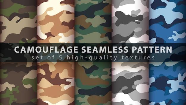 Establecer camuflaje militar de patrones sin fisuras Vector Premium