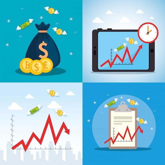 Establecer cartel de caída del mercado de valores con iconos vector gratuito