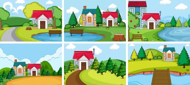 Establecer casa de pueblo rural vector gratuito