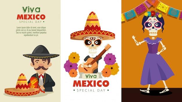 Establecer la celebración del día de los muertos con mariachis y esqueletos vector gratuito