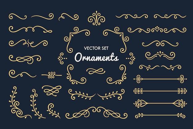 Establecer la colección de elementos de adorno vintage Vector Premium