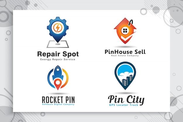 Establecer la colección de logotipo de la ciudad pin con un concepto de estilo simple, mapa de pin de ilustración Vector Premium