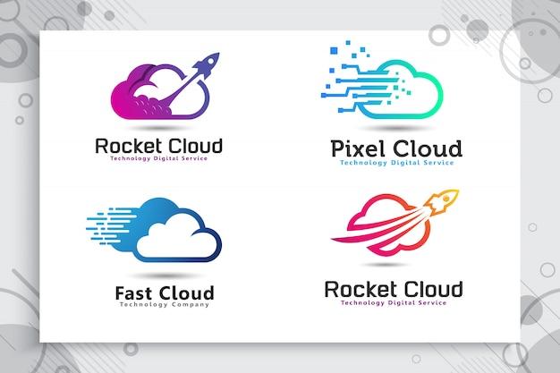 Establecer la colección del logotipo de la nube rocket con un estilo colorido y simple. Vector Premium