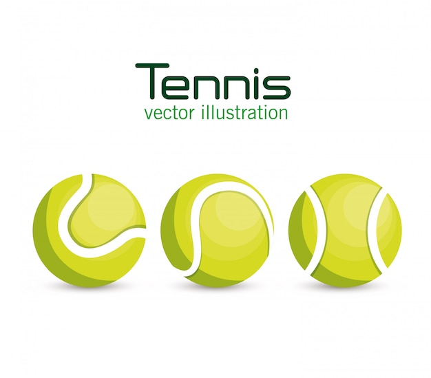 Establecer deporte de tenis de pelota vector gratuito