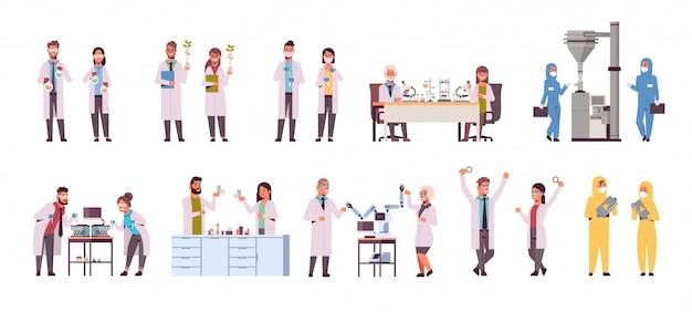 Establecer diferentes investigadores científicos haciendo experimentos en laboratorio Vector Premium