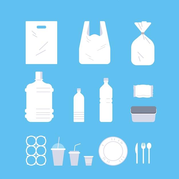 Establecer diferentes objetos desechables hechos de plástico colección contaminación reciclaje ecología problema salvar el concepto de tierra plana Vector Premium