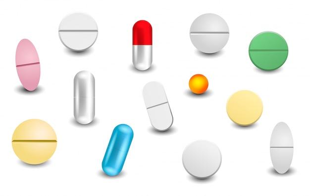 Establecer diferentes pastillas realistas aisladas Vector Premium