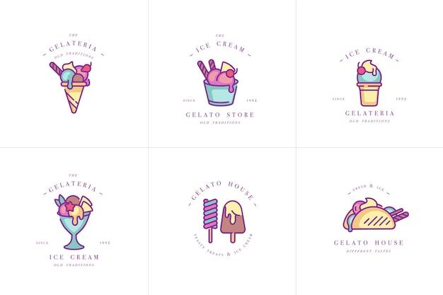 Establecer diseño de plantillas de colores logo y emblemas - helado y gelato. diferencia de iconos de helado. logotipos en estilo lineal de moda aislado sobre fondo blanco. Vector Premium