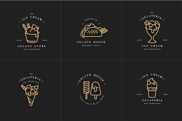 Establecer diseño de plantillas doradas logo y emblemas - helados y helados. estilo lineal de moda aislado. Vector Premium