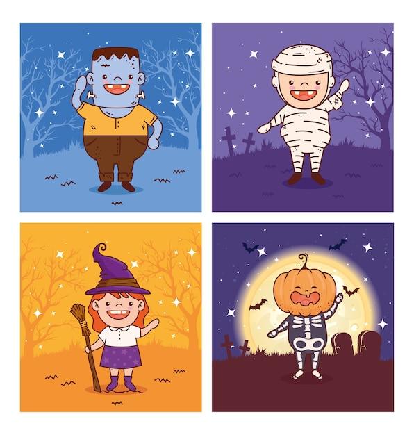 Establecer escenas de niños disfrazados para la feliz celebración de halloween Vector Premium